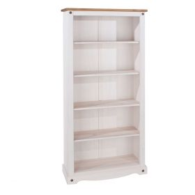 Solid wood white tall bookcase