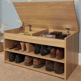 Oak shoe cabinet with 2 shelves and lift up lid