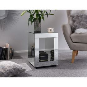 Capri Mirrored Cube Lamp Table