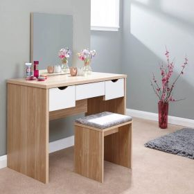 Oak dressing table with 3 white drawers, stool and mirror
