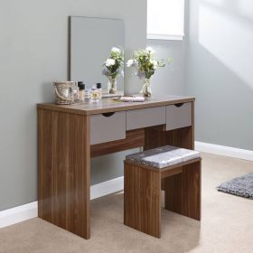 Dark oak dressing table set with cushioned stool, 3 grey drawers and mirror