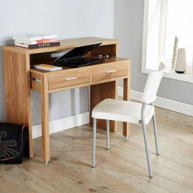 Oak coloured extending desk with 2 drawers and silver drawer handles