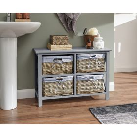 Grey 4 drawer chest of drawers with willow basket drawers