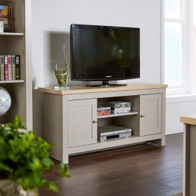 Grey 2 door and 2 shelf large tv stand, with sonoma oak top finish