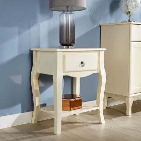 Cream lamp table with drawer and lower open shelf