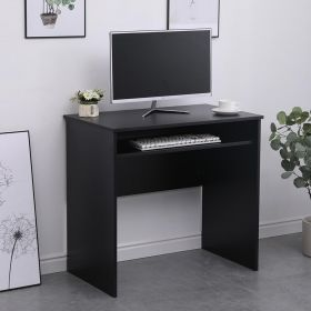 Black narrow desk with undershelf which can slide out to give access to keyboards