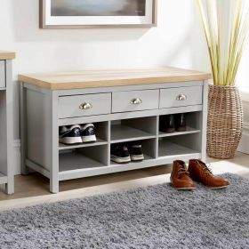 Grey oak shoe cabinet with 3 drawers and 6 storage cubes