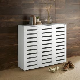 White 3 door wooden shoe cabinet with slatted fronts