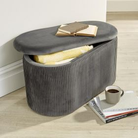 Flat velvet grey oval ottoman with soft lid