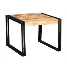 Industrial wooden square coffee table with black metal frame