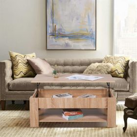 Lift up oak coffee table with lower shelf and storage space