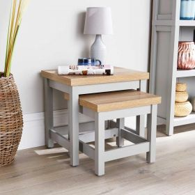 Grey oak nest of two wooden occasional tables