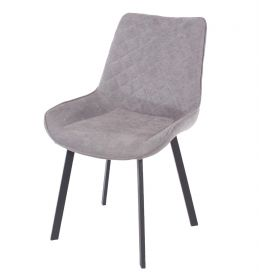 Modern upholstered dining chair in grey fabric with metal legs