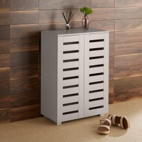 Grey 2 door slatted shoe cabinet with small square metal legs