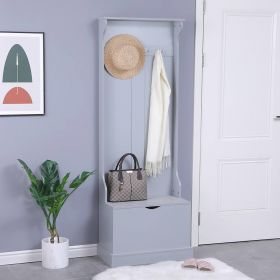 grey painted wooden hallway bench storage and coat rack unit
