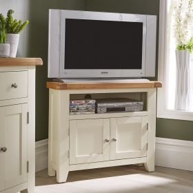 solid oak white painted corner TV unit storage with cupboard and cable management