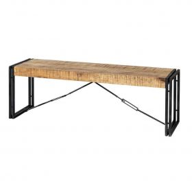 Industrial style bench with wooden seat and black metal frame with criss-cross design
