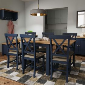 blue painted two tone wooden flip dining table with oak top