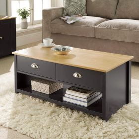 Graphite coffee table with 2 drawers, natural wood top and lower shelf