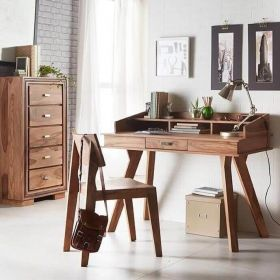 Solid wooden desk with multiple drawers and storage spaces