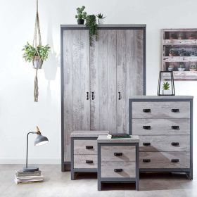 Grey wooden effect 4 piece bedroom set with wardrobe, chest of drawers and 2 bedside tables