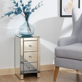 Mirrored 3 drawer chest with crystal handles