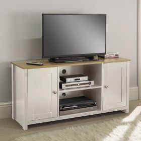 Large cream tv stand with 2 doors, shelf space and oak effect top