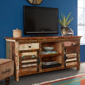 Reclaimed multicolour boat wood large TV cabinet with reclaimed metal handles