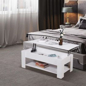White lift up coffee table with lower shelf