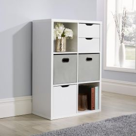 Deluxe chunky white 6 cube storage unit with optional solid or fabric drawers
