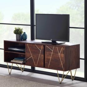 Solid mango wood and reclaimed metal dark media unit with 2 doors and 2 shelves