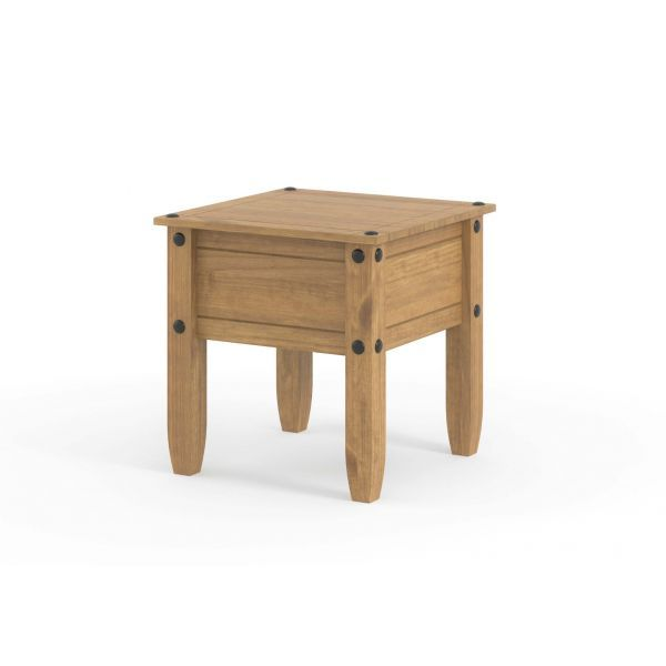 Sturdy pine 1 drawer lamp table with black metal handle and studs