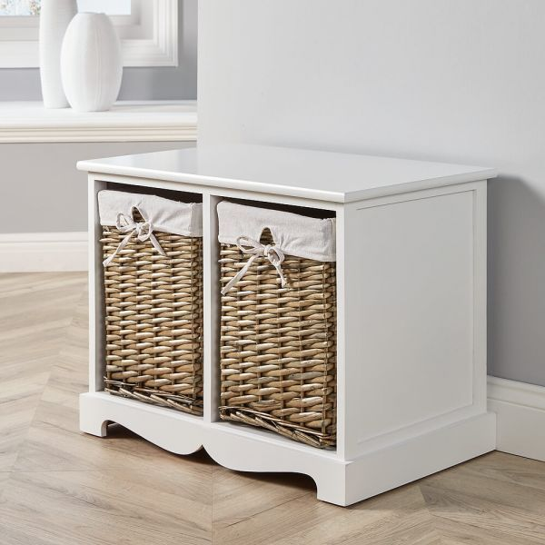 White solid wood and MDF 2 drawer storage with woven willow-lined baskets