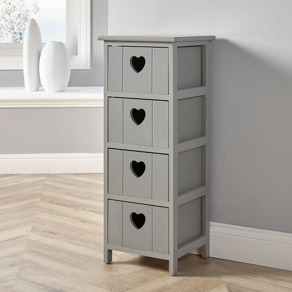 Grey lovestack 4 drawer chest of drawers with love heart handles