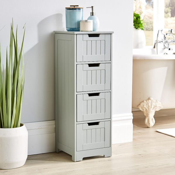 Grey 4 drawer cabinet, front side view