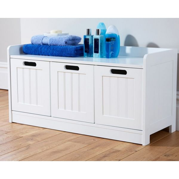 White 3 door storage unit with hand-holes for opening