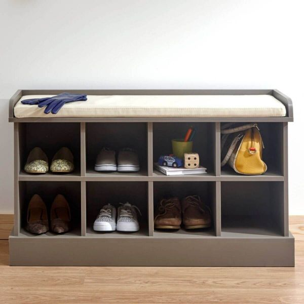 Grey shoe bench with padded top and 8 storage compartments