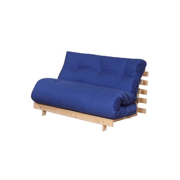 Blue double futon with wooden frame