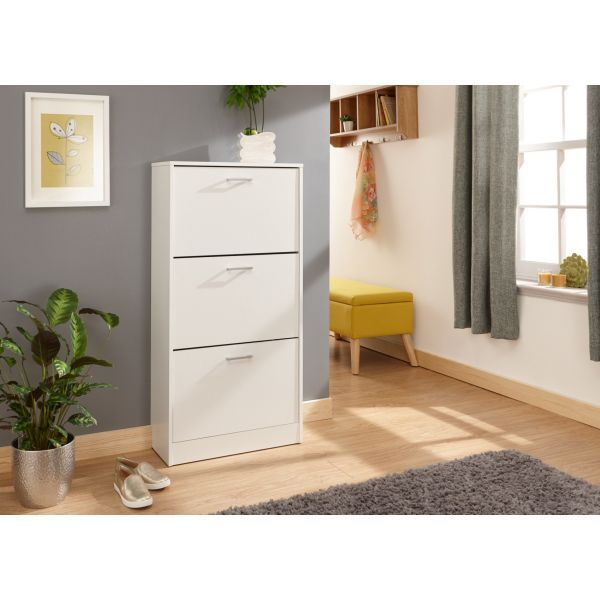 Stirling Shoe Cabinet White 3 Tier