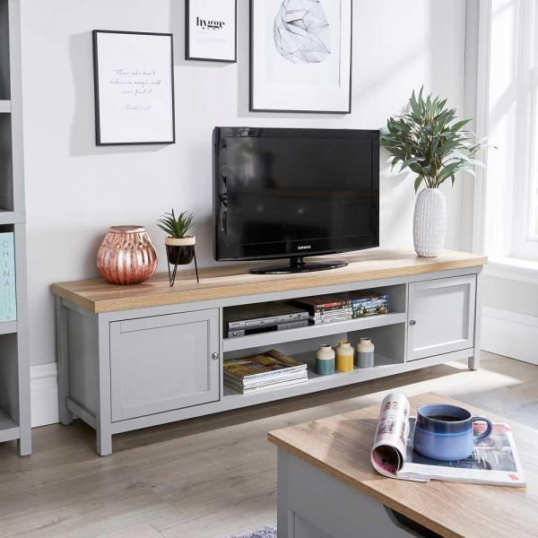 Extra wide 180cm grey oak tv stand with 2 doors and open shelves