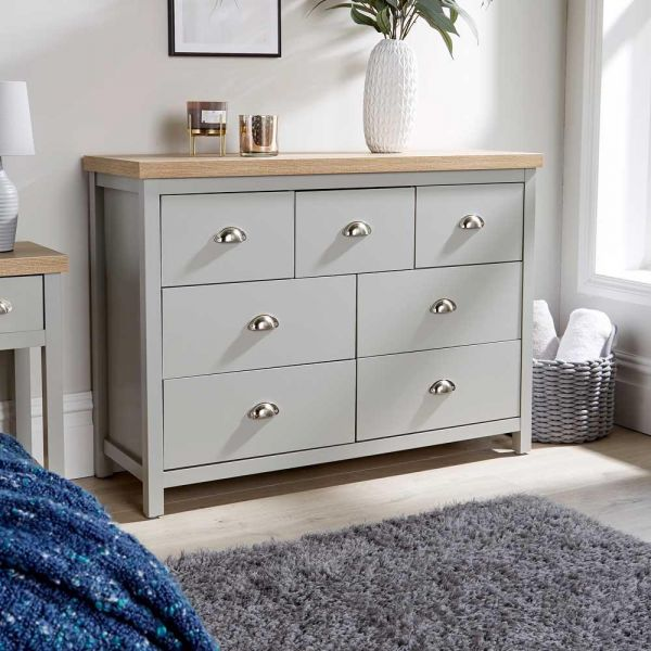 Grey Oak 7 drawer wooden merchant chest of drawers
