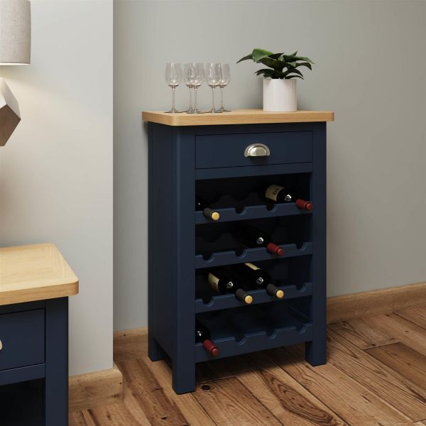 blue painted wooden two tone wine cabinet with drawer storage and oak top