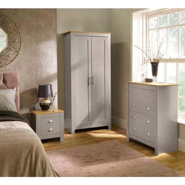 Grey and natural wood effect top 3 piece bedroom set with 2 door wardrobe, 2 drawer bedside and a 4 drawer chest