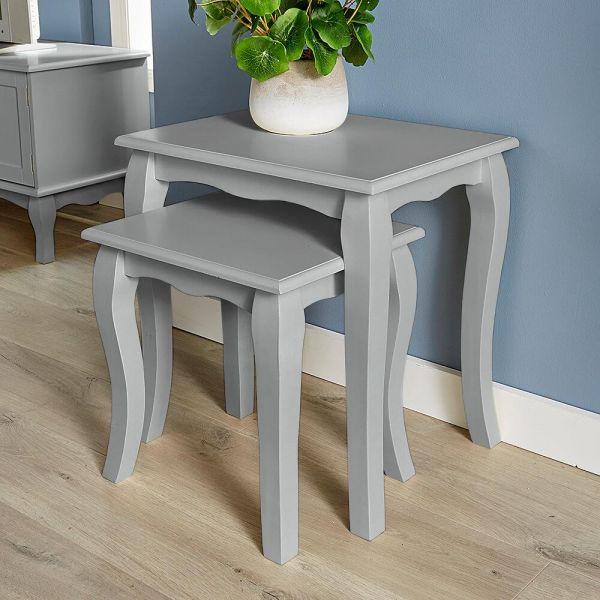 Grey wooden french inspired nest of 2 tables with curved legs