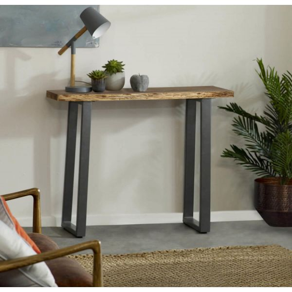 Solid acacia wood and grey reclaimed metal, handmade console table