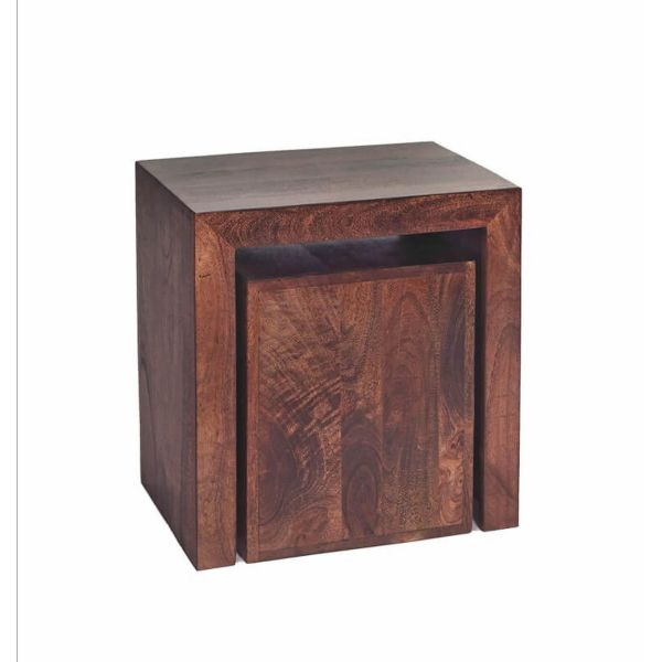 dark wood cubed nest of 2 side coffee tables